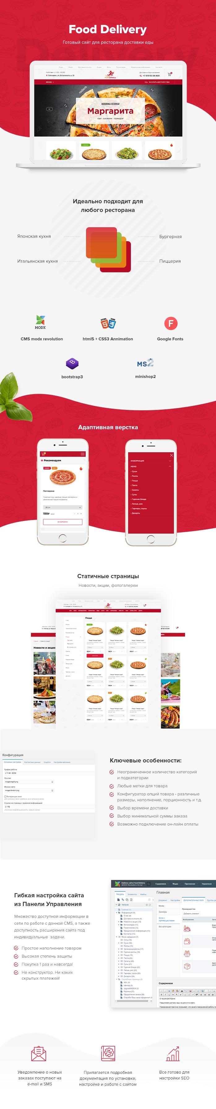 готовый сайт ресторана доставки еды