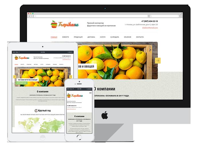 шаблон сайта импортера овощей и фруктов